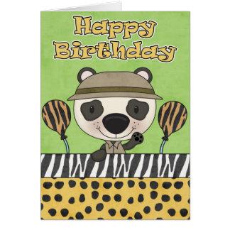 Tarjeta de cumpleaños del safari del oso de pequeñ