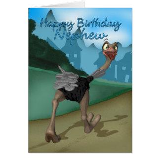 Tarjeta de cumpleaños del sobrino - avestruz del d