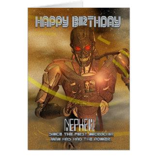Tarjeta de cumpleaños del sobrino con el Cyborg -