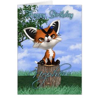 Tarjeta de cumpleaños del sobrino con el Fox lindo