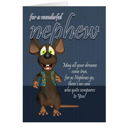 Tarjeta de cumpleaños del sobrino - con el ratón e