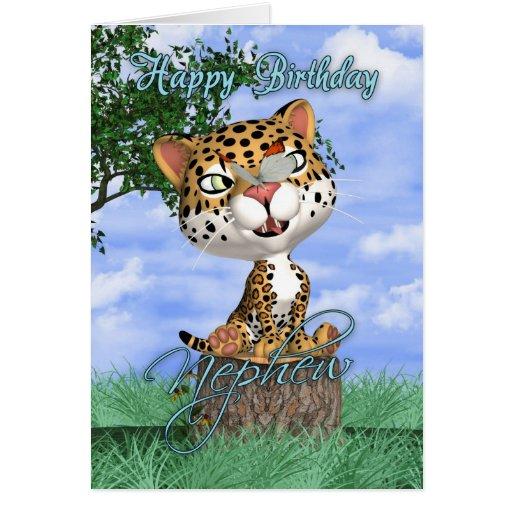 Tarjeta de cumpleaños del sobrino con Jaguar y But
