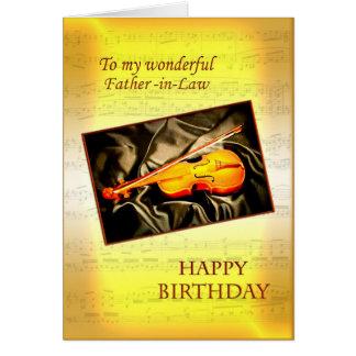 Tarjeta de cumpleaños del suegro con un violín