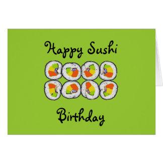 Tarjeta de cumpleaños del sushi del sushi
