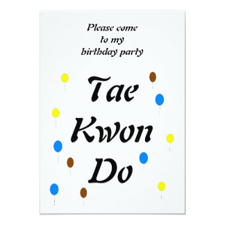 Tarjeta de cumpleaños del Taekwondo Invitación 12,7 X 17,8 Cm