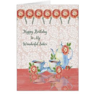 Tarjeta de cumpleaños del tiempo del té para su