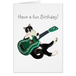 Tarjeta de cumpleaños del Ukulele del gato