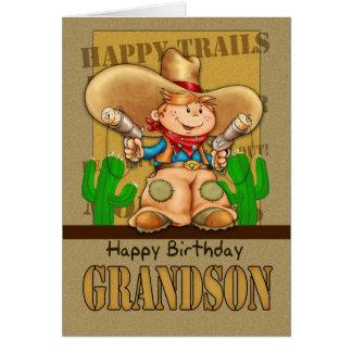 Tarjeta de cumpleaños del vaquero del nieto - BI