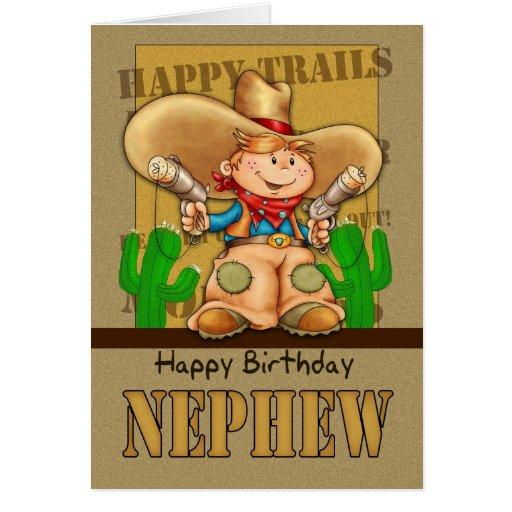 Tarjeta de cumpleaños del vaquero del sobrino - Ro