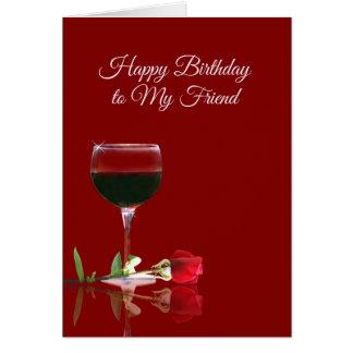 Tarjeta de cumpleaños del vino para el amigo