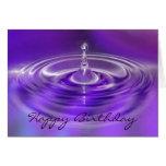 Tarjeta de cumpleaños - descenso púrpura del agua