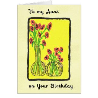 Tarjeta de cumpleaños dibujada mano para la tía