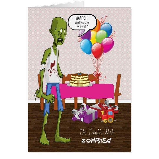 Tarjeta de cumpleaños divertida con el zombi en el