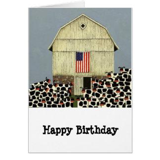 tarjeta de cumpleaños divertida de la vaca