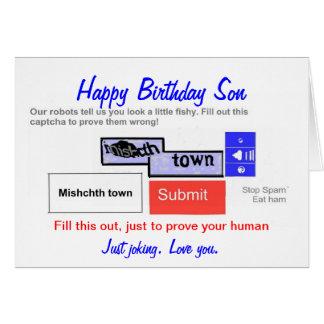 Tarjeta de cumpleaños divertida de los hijos. ¿Es