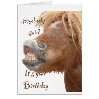 Tarjeta de cumpleaños divertida del caballo