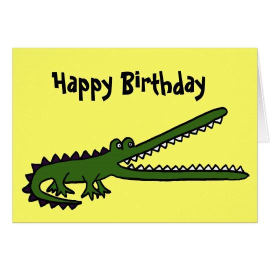 Tarjeta de cumpleaños divertida del cocodrilo del