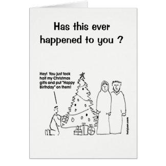 Tarjeta de cumpleaños divertida del navidad