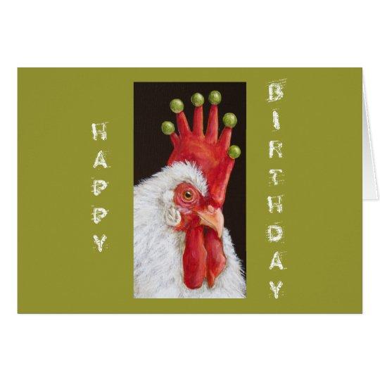Tarjeta de cumpleaños divertida del pollo todos