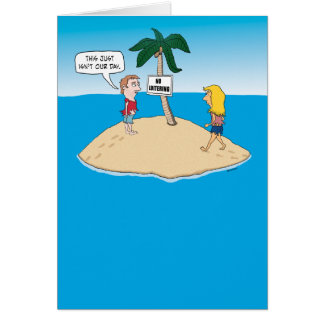 Tarjeta de cumpleaños divertida: Isla desierta