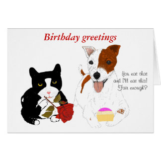 Tarjeta de cumpleaños divertido del gato y del per