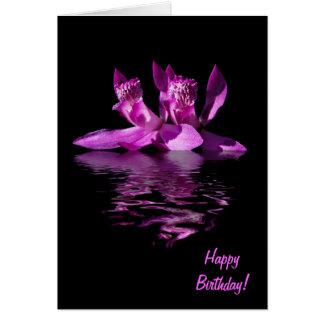 Tarjeta de cumpleaños dramática de la orquídea