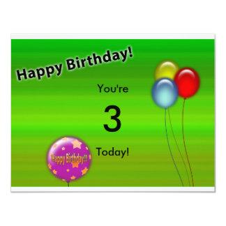 Tarjeta de cumpleaños (edad Editable) Invitación 10,8 X 13,9 Cm