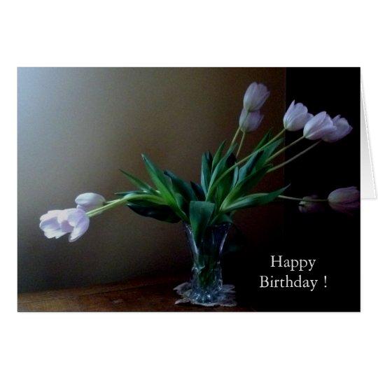 Tarjeta de cumpleaños elegante del tulipán de la