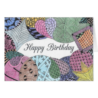 Tarjeta de cumpleaños enredada del arte