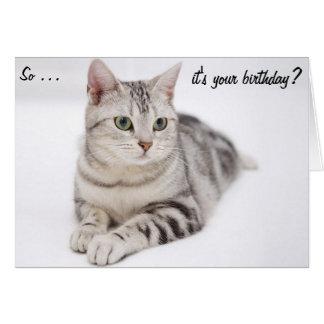 Tarjeta de cumpleaños escéptica del gato