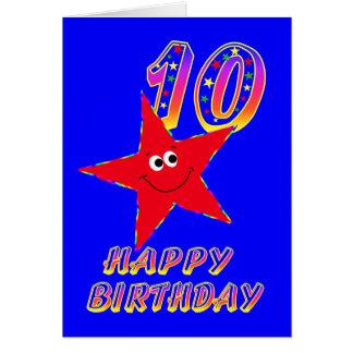 Tarjeta de cumpleaños feliz de la estrella roja