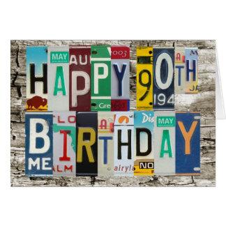 Tarjeta de cumpleaños feliz de las placas 90 a