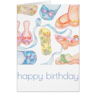 Tarjeta de cumpleaños feliz de los zapatos