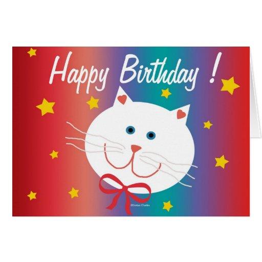 Tarjeta de cumpleaños feliz del gato