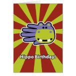 Tarjeta de cumpleaños feliz del hipopótamo