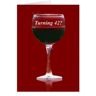 Tarjeta de cumpleaños feliz del vino 42.a