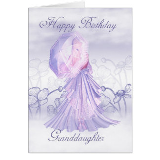 Tarjeta de cumpleaños femenina linda de la nieta