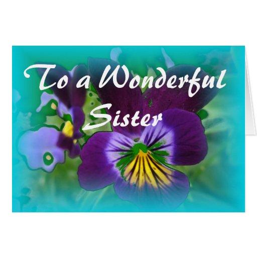 Tarjeta de cumpleaños floral de la hermana