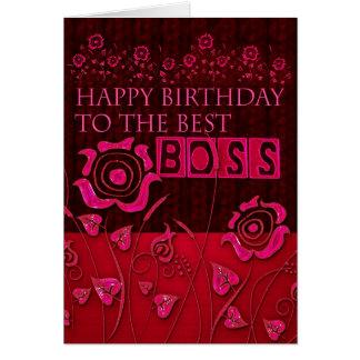 Tarjeta de cumpleaños floral rosada de Boss