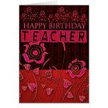 Tarjeta de cumpleaños floral rosada del profesor