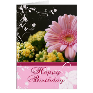 Tarjeta de cumpleaños floral rosada - feliz cumple
