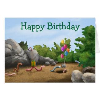 Tarjeta de cumpleaños fresca del gusano