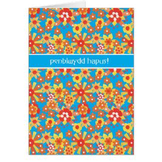 Tarjeta de cumpleaños Galés, flores del naranja de