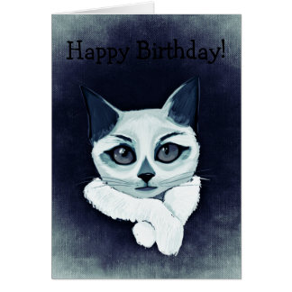Tarjeta de cumpleaños: Gato de White'n'blue