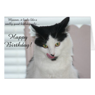 Tarjeta de cumpleaños: Gato listo para gozar de