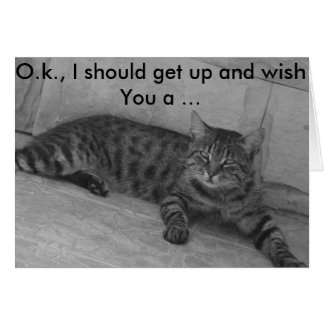 Tarjeta de cumpleaños: Gato que se levanta