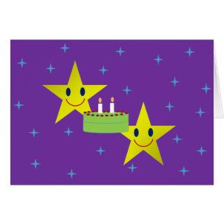 Tarjeta de cumpleaños gemela de la estrella