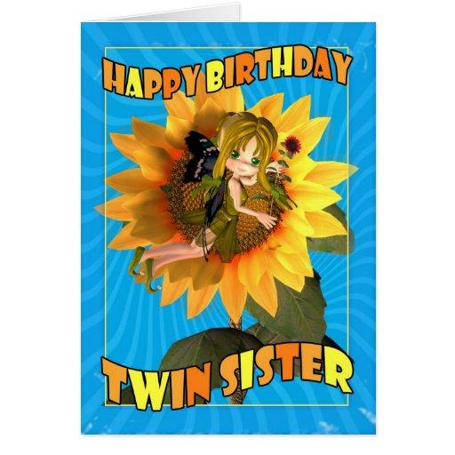 Tarjeta de cumpleaños gemela de la hermana con la