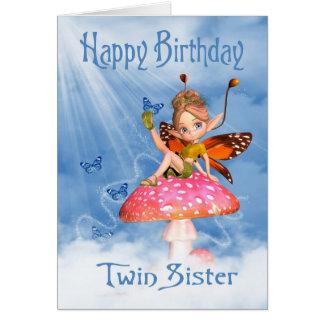 Tarjeta de cumpleaños gemela de la hermana - hada