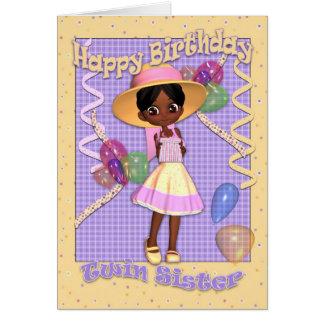 Tarjeta de cumpleaños gemela de la hermana - niña